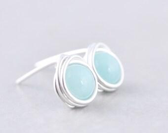 Amazonite Studs, Aqua Post Earrings, Aqua Earrings, Mint Posts