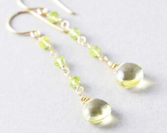 Yellow Dangle Earrings, Peridot Earrings, August Birthstone