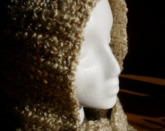 Hooded Scarf - Hooded Cowl - Hand Crochet  - Oatmeal Color- Adult - One Size Fits All