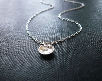 Tiny Pool Necklace in Sterling Silver - Sweet Gift, Dainty Everyday Necklace, Tiny Silver Circle Necklace