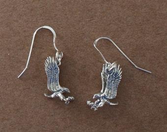 Earrings - Sterling Silver 3D FALCON-- Bird, Totem, Wildlife