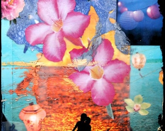 GLASSED, INDIAN SUMMER, Best Seller, 4x4 and Up, Hand Painted, re-collaged artwork, wood panel, lanterns, ocean, surfing, wall art, gift