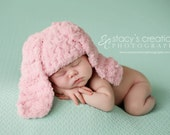 Baby Girl Hat, Crochet Baby Hat, Baby Bunny Hat Floppy, Baby Girl Bunny Hat, Newborn Girl Hat, Infant Bunny Hat, Pink, Baby Halloween Hat