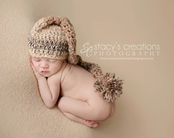 Crochet Striped Baby Stocking Hat, Newborn Elf Hat, Infant Long Tail Hat, Baby Boy Hat, Newborn Girl Hat, Earthy Colors, Browns