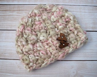 Pink Infant Girl Hat, Baby Hat for Girls, Valentine Kids, Infant Beanie Hat, Baby Girl Gift, Newborn Girl Hat, Baby Hat with Hearts