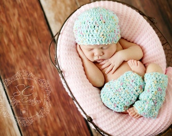 Baby Girl Outfit, Newborn Girl Clothes, Infant Girl Hat and Leg Warmer Set, Newborn Photo Prop, Baby Girl Legwarmers, Newborn Girl Beanie