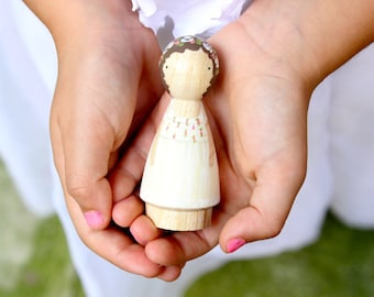 For the Flower Girl // One Custom Child // Goose Grease - Smaller Child-Size Wooden Peg Doll