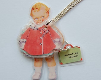 BaBy ToURisT SCooTLeS LaMiNaTeD PaPeR DoLL NeCkLaCe #2