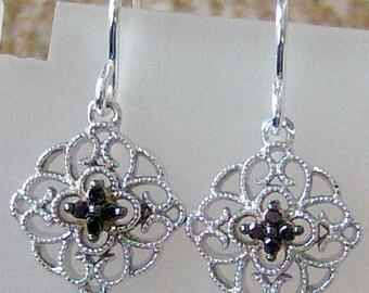 Geniune Black Diamond Dangle Earrings in Sterling Silver, Cavalier Creations