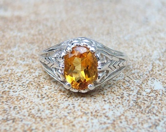 Citrine Sterling Silver Filigree Ring, Cavalier Creations