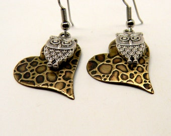 Steampunk mixed metal jewelry earrings.