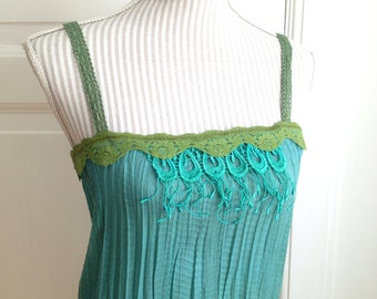 Ocean Quest - Elven Hand Dyed Lace Crinkle Pointy Pixie Tank Top