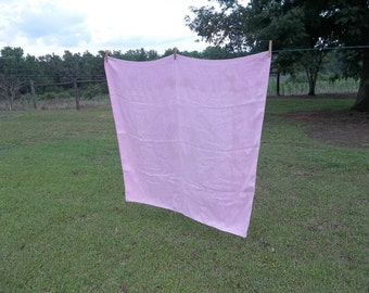 Vintage Linen Tablecloth Pink Linen Table Cloth Overlay Wedding Decorations Table Décor Bridal Shower Decor French Cottage Chic 48x50