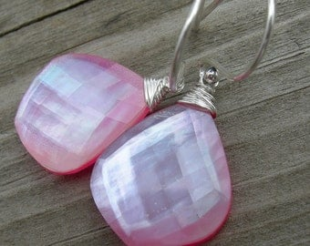 Pink Onyx Topaz Mother of Pearl Triplet Sterling Silver Earrings