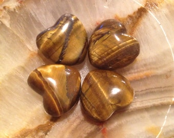 Tiger Eye Natural Gemstone Puffy Heart Focal Pendant Bead