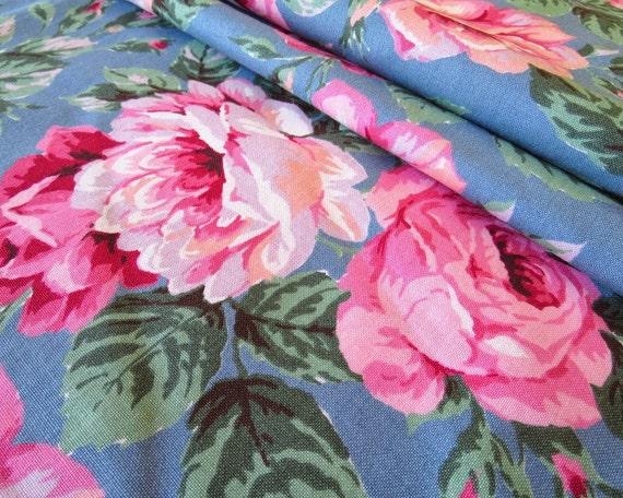 Vintage Vip Cranston Textiles Novelty Floral Rose Print Fabric