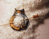 Fat Cat Calico Shawl Pin Polymer Clay