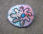 Amoeba pin embroidered brooch on hand painted fabric