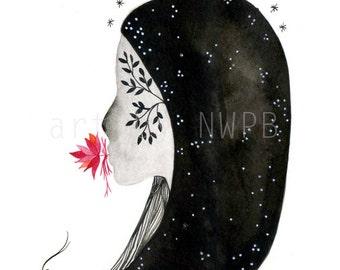 Flower girl. Silence II. Illustration