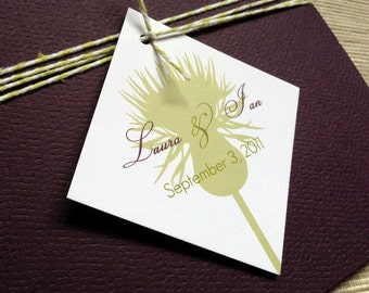 French Country Wedding Invitations with Herbal Theme in Green and Purple - SAMPLE