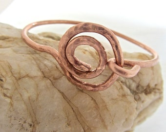 hammered copper bangle bracelet Squired design handmade unique, raw copper. stylish, layer