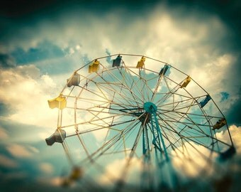 Ferris wheel photography, wall decor, wall hanging, wall art, nursery print, kids room decor, carnival ride decor
