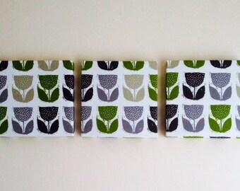 Set Of 3 Contemporary Modern Designer Retro Print Design Eucalyptus Green Black Wall Hanging Canvases Fabric Wall Art Wall Decor,NEW FABRIC
