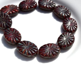 Dark Red Oval Etched Coin Beads   6