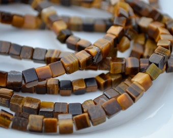 Small 4mm Brown Tigerseye Cube Beads   20