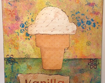 Vanilla Ice Cream Cone original collage