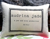 Personalized baby pillow name and copyright date, newborn gift, twin gift, new parents gift, photo prop for newborn, production date