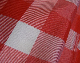 polyester blend red checkered fabric