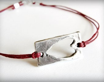 Heart bracelet in sterling silver bridesmaid bracelet gift anniversary red love friendship bracelet graduation mothers day ready to ship