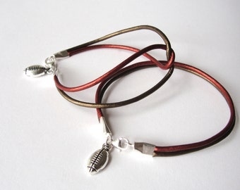 San Francisco SF 49ers bracelet Football Leather bracelet