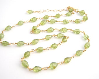 Peridot Strand Necklace, Rosary Style, Apple Green, Gold, Semi Precious, August Birthstone