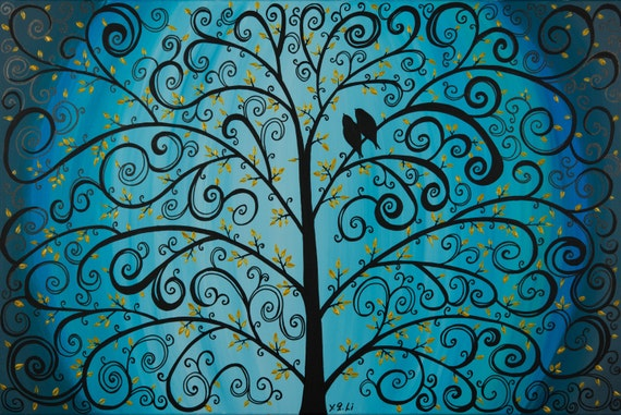 """Abstract painting Original  Love birds palette KNIFE Tree painting wall art  """"Tree Of Life"""" by QiQiGallery"""