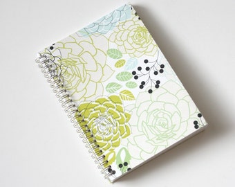 Large Coupon Organizer with 14 Pockets - Pre Printed Labels Included - Large Green Blue Pastel Flowers