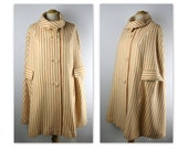 60s Mod Cape Coat in a Striped Tangerine and Cream