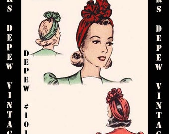 Vintage Sewing Pattern 1940's Turban Rosette Hat One Size Printable PDF Copy Depew 1014 -INSTANT DOWNLOAD-
