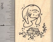 Manatee Near Pirate Treasure Rubber Stamp D20820 Wood Mounted