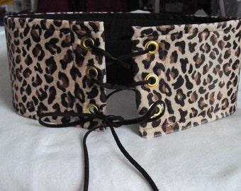 Leopard belt with three eyelets per side and leather cording--renaissance belt, caveman, conan belt, present day belt