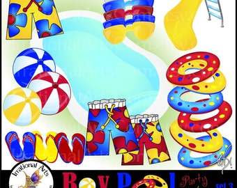 BOY Pool Party Time set 3 - 25 digital clipart graphics pool innertube board shorts flip flops sunglasses beach balls [ INSTANT DOWNLOAD ]
