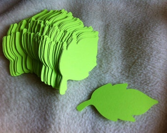 Paper Leaves...100 Piece Set of Very Lovely Bright Lime Green Paper Leaves Die Cut Scrapbooking Embellishments