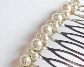 Pearl Hair Comb Ivory White or Cream - Swarovski Crystal Pearl Wedding Bridal Hair Accessory