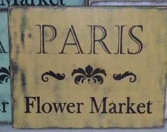 PARIS FLOWER MARKET sign / flower market sign / Paris sign / hand painted sign/ Paris market sign / Paris apartment chic / Paris flower sign