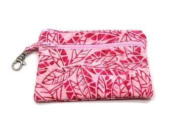 Larger Zippered Wallet Change Purse Gadget Case  Pretty Pink Leaves