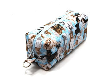 Medium Zipper Box Pouch Project or Travel Case  Puppies on Blue Argyle