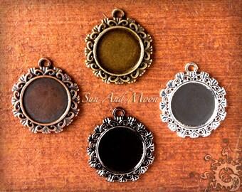 5 Sets 20mm ~ Ribbons and Bows ~ Blank Bezel Craft Kit ~ Bezel, Vintage Necklaces, FX Glass, Sample Glaze ~ Photo Jewelry Pendants Charms