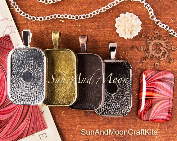NeW TEXTURED ~ The Sun And Moon Mini Rectangle Pendant Trays and GLASS Tiles ~ 10 Pcs ~ Bezel Setting Pendant Blanks with Glass