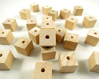 25 Wood Square Beads, Square - 3/4 inch - Wood Cubes - Unfinished Wooden Square Beads for DIY